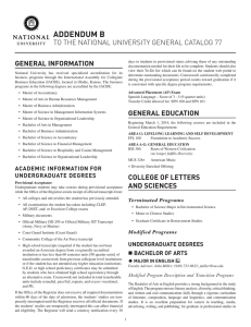 ADDENDUM B TO THE NATIONAL UNIVERSITY GENERAL CATALOG 77 GENERAL INFORMATION