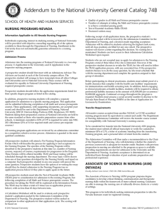 Addendum to the National University General Catalog 74B
