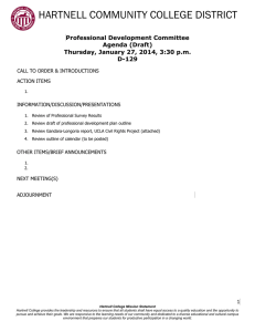 HARTNELL COMMUNITY COLLEGE DISTRICT  Professional Development Committee Agenda (Draft)