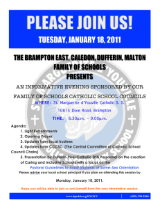 TUESDAY, JANUARY 18, 2011 THE BRAMPTON EAST, CALEDON, DUFFERIN, MALTON PRESENTS