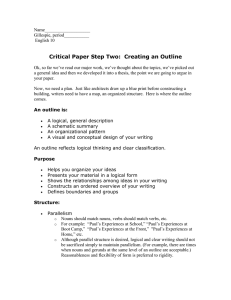 Critical Paper Step Two:  Creating an Outline