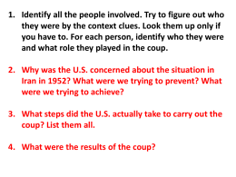 1. Identify all the people involved. Try to figure out... they were by the context clues. Look them up only...
