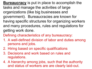 Bureaucracy tasks and manage the activities of large