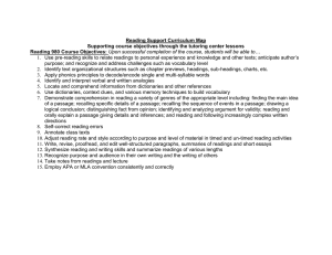 Reading Support Curriculum Map Reading 980 Course Objectives: …