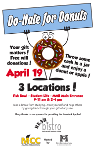 Do-Nate for Donuts 3 Locations! April 19 Throw some