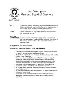 Job Description Member, Board of Directors