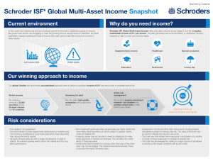 Schroder ISF* Global Multi-Asset Income Snapshot Current environment Why do you need income?