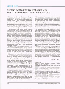 2-3, SECOND SYMPOSIUM ON RESEARCH AND DEVELOPMENT AT APL 1993)
