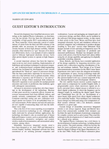 GUEST EDITOR'S INTRODUCTION ADVANCED MICROWAVE TECHNOLOGY-I