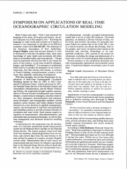 SYMPOSIUM ON APPLICATIONS OF REAL-TIME OCEANOGRAPHIC  CIRCULATION  MODELING