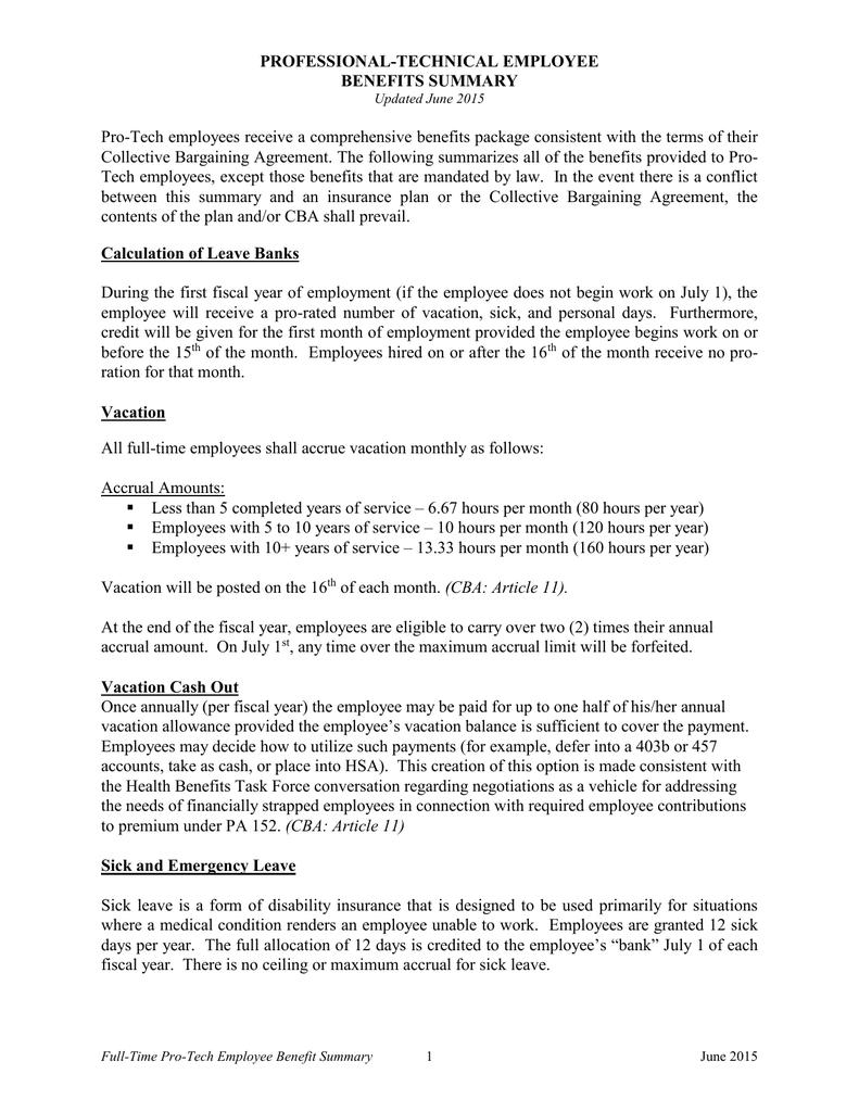 Professional Technical Employee Benefits Summary