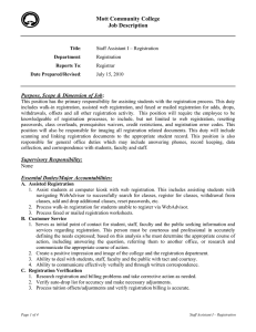 Mott Community College Job Description  Purpose, Scope & Dimension of Job
