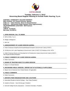 Tuesday, February 3, 2015 Governing Board Regular Meeting to include Public Hearing, 5 p.m.