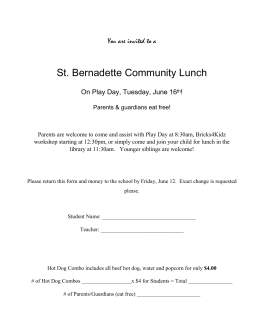 St. Bernadette Community Lunch  You are invited to a