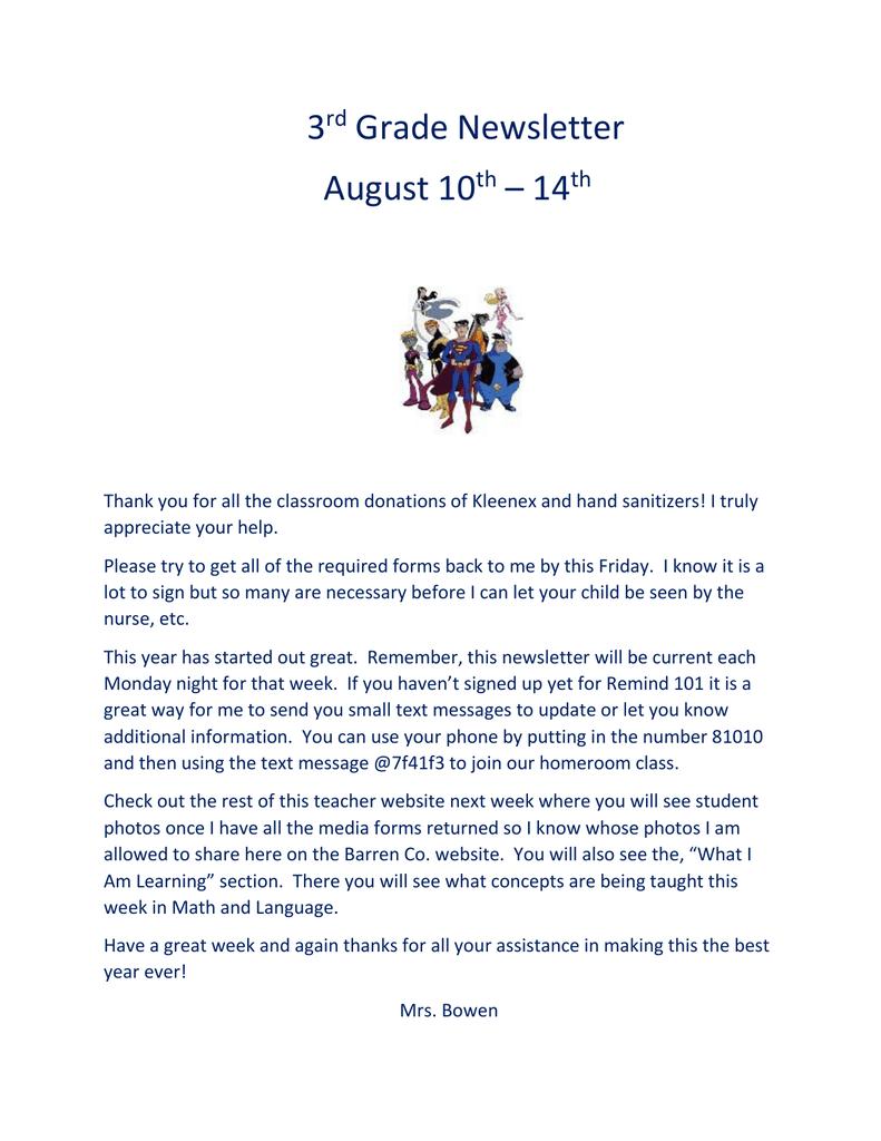 3 Grade Newsletter August 10 – 14