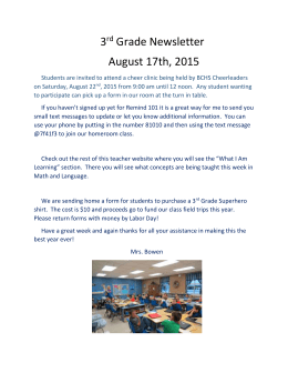 3 Grade Newsletter August 17th, 2015 rd