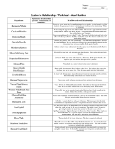 Symbiotic Relationships Worksheet—Good Buddies Barnacle/Whale  Symbiotic Relationship