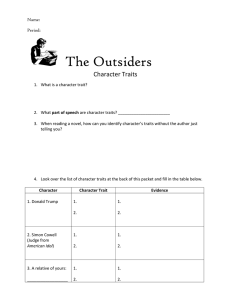 The Outsiders Character Traits