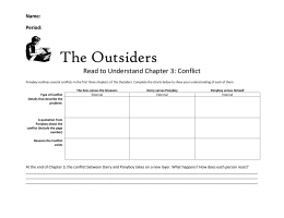 The Outsiders Read to Understand Chapter 3: Conflict Name: Period: