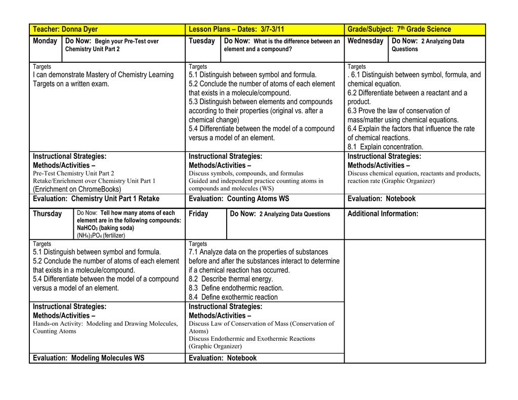 Teacher Donna Dyer Lesson Plans Dates 37 311 Gradesubject 7