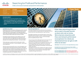 Searching for Profit and Performance Case  Study