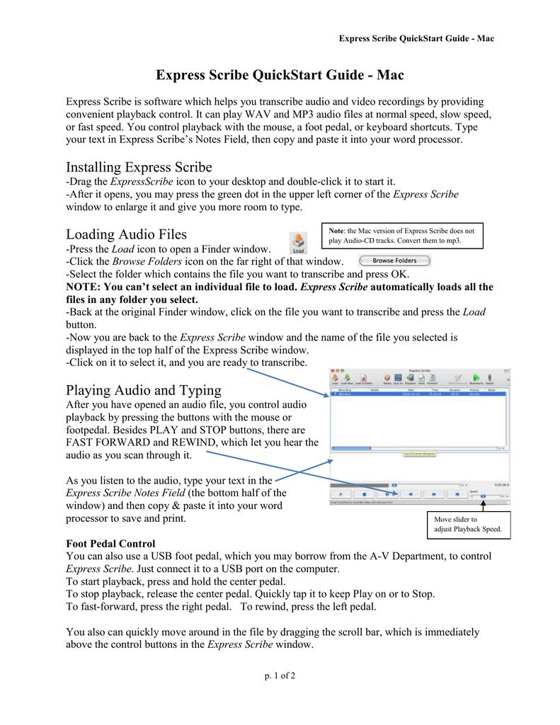Express Scribe QuickStart Guide - Mac