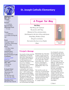 St. Joseph Catholic Elementary A Prayer for May