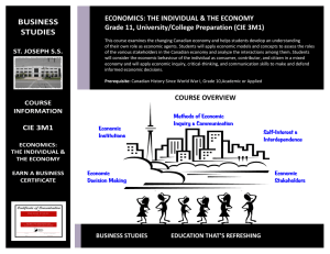 BUSINESS STUDIES  ECONOMICS: THE INDIVIDUAL & THE ECONOMY
