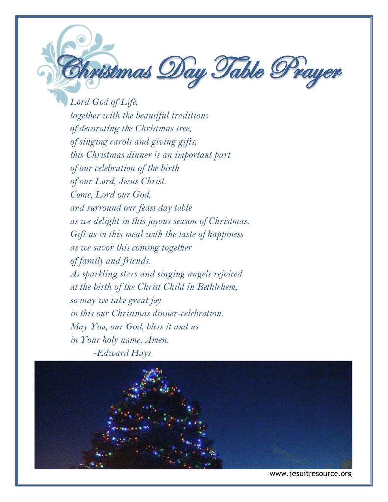 Christmas Dinner Prayer.Christmas Day Table Prayer