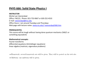 PHYS 666: Solid State Physics I