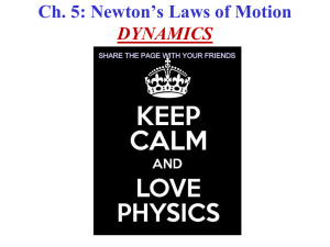 Ch. 5: Newton's Laws of Motion DYNAMICS