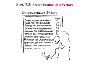 Sect. 7.3: Scalar Product of 2 Vectors