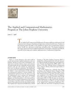 T The Applied and computational mathematics program at The Johns hopkins university
