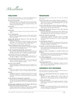 Miscellanea PUBLICATIONS PRESENTATIONS