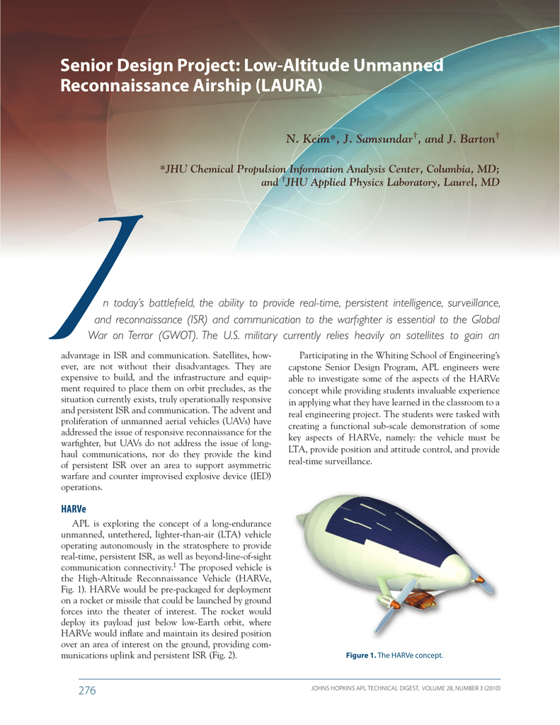 I Senior Design Project: Low-Altitude Unmanned Reconnaissance
