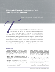 APL Applied Systems Engineering–Part II: Guest Editors' Introduction