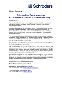 News Release Schroder Real Estate announces