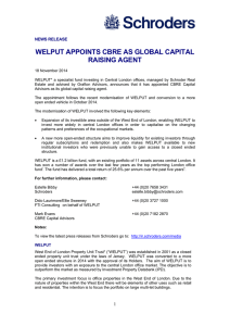 WELPUT APPOINTS CBRE AS GLOBAL CAPITAL RAISING AGENT