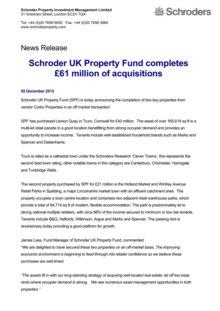 Schroder Property Investment Management Limited 31 Gresham Street
