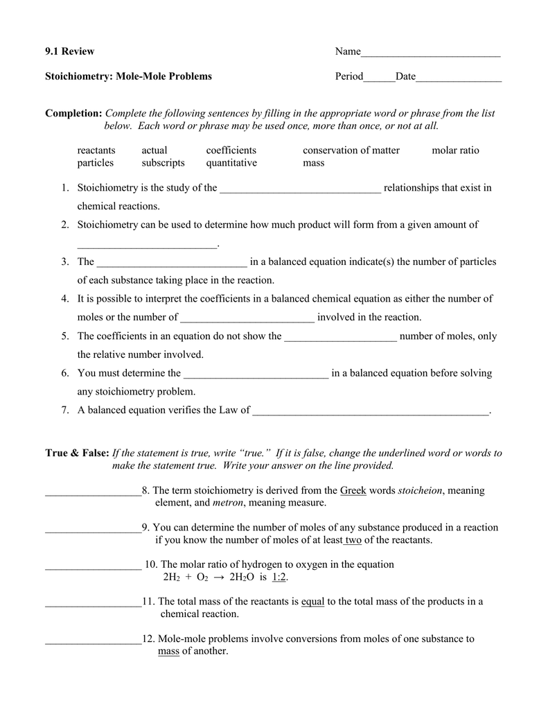 91 Review Stoichiometry MoleMole Problems Completion – Worksheet Mole Mole Problems