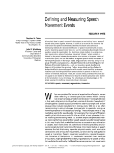 Defining and Measuring Speech Movement Events RESEARCH NOTE Stephen M. Tasko
