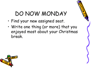 DO NOW MONDAY
