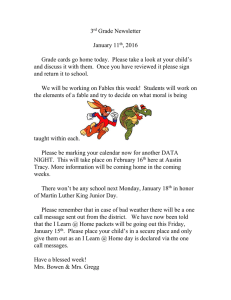 3 Grade Newsletter  January 11