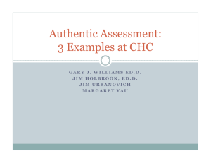 Authentic Assessment: 3 Examples at CHC