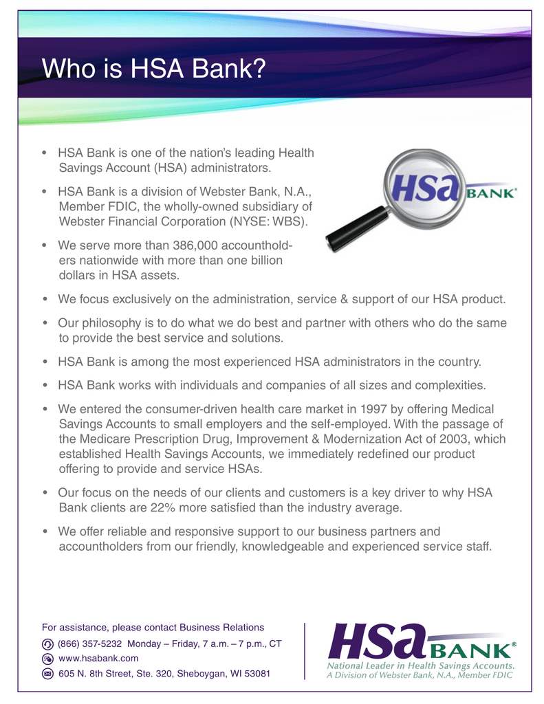 Who is HSA Bank?