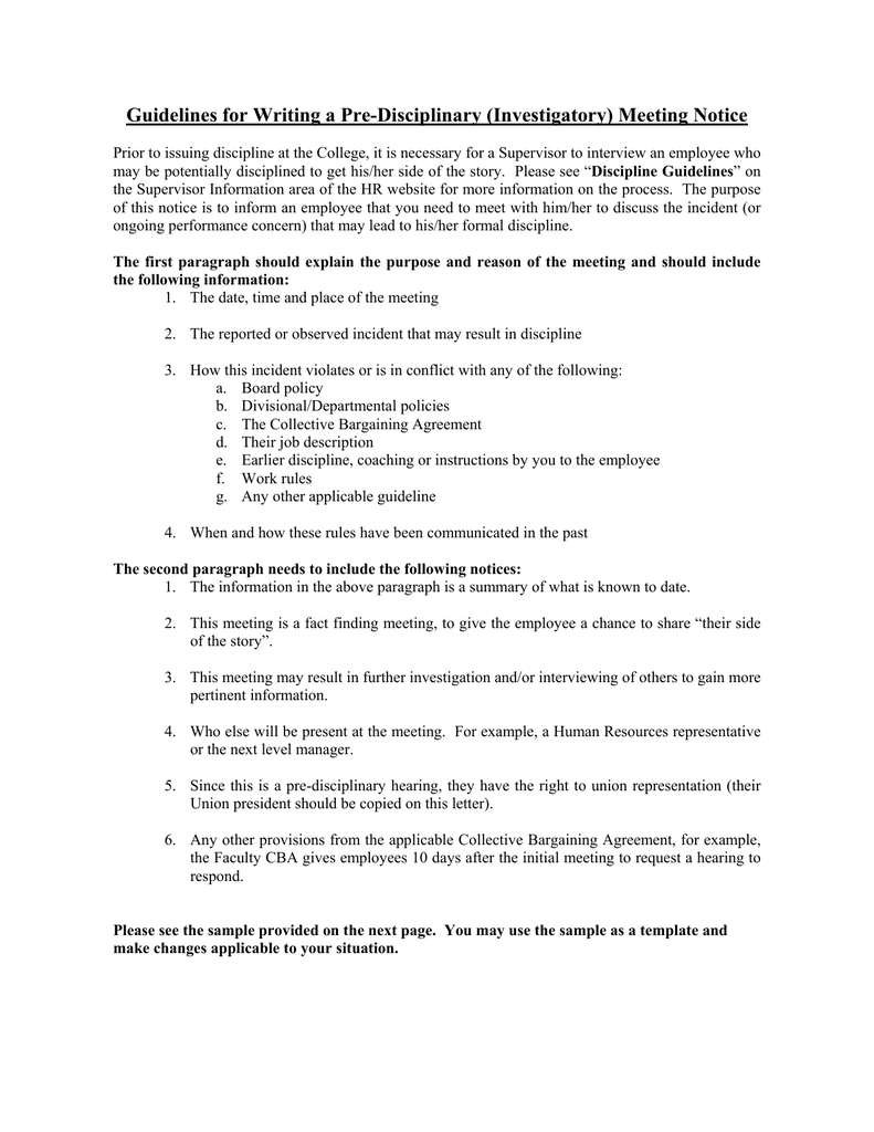 Guidelines For Writing A Pre Disciplinary (Investigatory) Meeting Notice