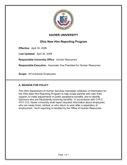 XAVIER UNIVERSITY  Ohio New Hire Reporting Program