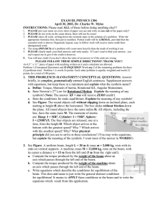 EXAM III, PHYSICS 1306 April 30, 2003, Dr. Charles W. Myles INSTRUCTIONS: