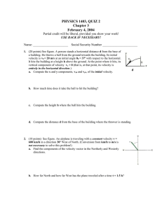 PHYSICS 1403, QUIZ 2 Chapter 3 February 4, 2004