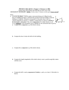 PHYSICS 1403, QUIZ 2, Chapter 3, February 6, 2006